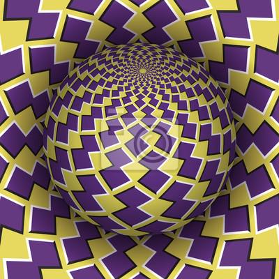 Optische Illusion Vektor-Illustration. Checkered Sphäre steigt über dem Loch. Gelbe lila gemusterte Objekte. Zusammenfassung Hintergrund in einem surrealen Stil.