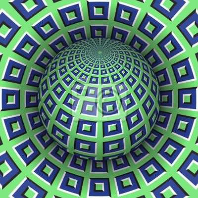 Optische Illusion Vektor-Illustration. Checkered Sphäre steigt über dem Loch. Grünblau gemusterte Objekte. Zusammenfassung Hintergrund in einem surrealen Stil.