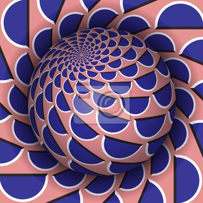 Optische Illusion Vektor-Illustration. Kugel über dem Loch. Blaue rosa gemusterte Objekte. Zusammenfassung Hintergrund in einem surrealen Stil.
