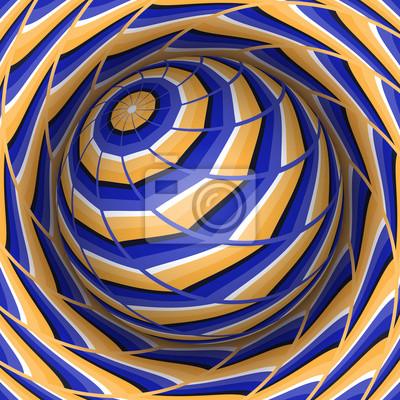 Optische Illusion Vektor-Illustration. Kugel über dem Loch. Orange blau gemusterte Objekte. Zusammenfassung Hintergrund in einem surrealen Stil.