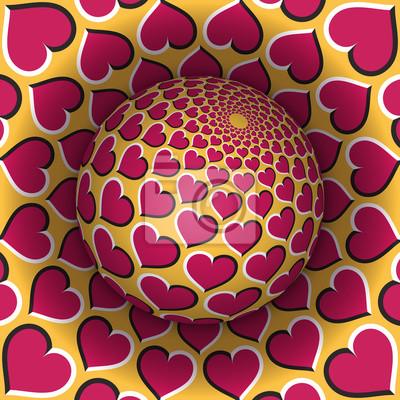 Optische Illusion Vektor-Illustration. Kugel über dem Loch. Rosa gelbe Herzen gemusterte Objekte. Zusammenfassung Hintergrund in einem surrealen Stil.