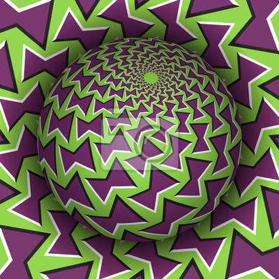 Optische Illusion Vektor-Illustration. Patterned Sphäre steigt über dem Loch. Grüne lila gemusterte Objekte. Zusammenfassung Hintergrund in einem surrealen Stil.