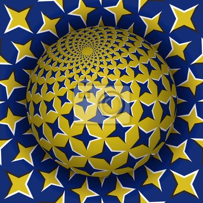 Optische Illusion Vektor-Illustration. Starry Sphäre steigt über die Oberfläche. Blaue gelbe gemusterte Objekte. Zusammenfassung Hintergrund in einem surrealen Stil.