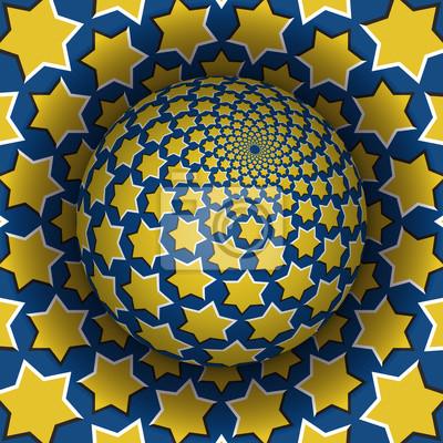 Optische Illusion Vektor-Illustration. Starry Sphäre steigt über die Oberfläche. Gelbblau gemusterte Objekte. Zusammenfassung Hintergrund in einem surrealen Stil.