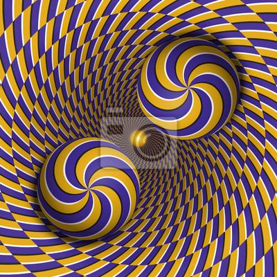 Optische Illusion Vektor-Illustration. Zwei mehrfache Spiralkugeln bewegen sich im rotierenden Loch. Blaue gelbe gemusterte Objekte. Zusammenfassung Hintergrund in einem surrealen Stil.