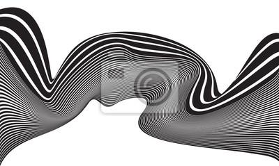 Optische kunst opart gestreift wellenförmig hintergrund abstrakt wellen schwarz a
