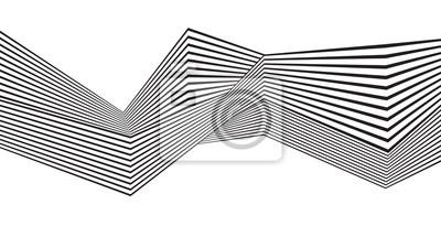 Optische kunst, opart gestreiften wellenförmigen hintergrund. Abstrakte Wellen schwarz