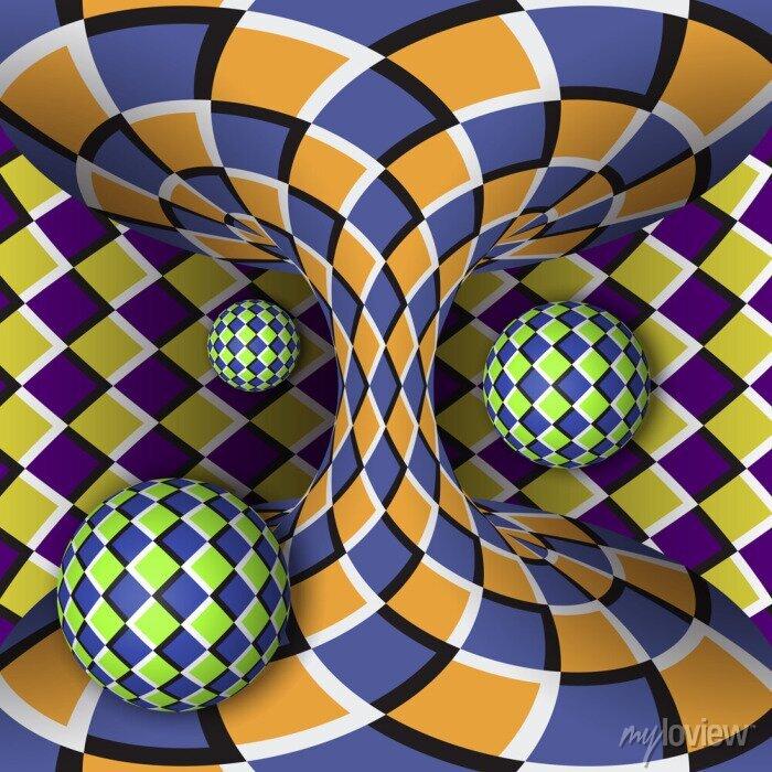 Bild Optische Täuschung der Drehung von drei Kugeln um einen sich bewegenden Hyperboloid. Abstrakt Hintergrund.