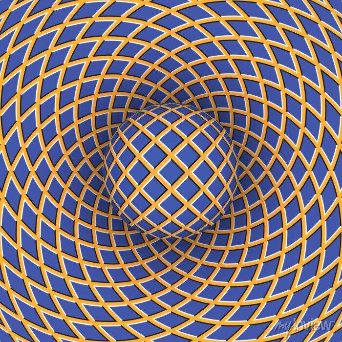 Bild Optische Täuschung der Rotation der Kugel vor dem Hintergrund eines sich bewegenden Raum.