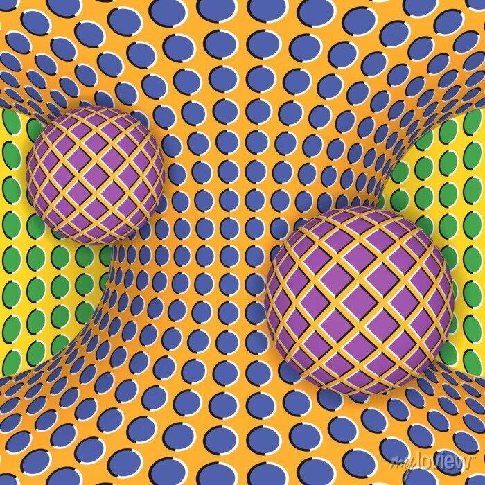 Bild Optische Täuschung der Rotation von zwei Kugeln um einen sich bewegenden Hyperboloid. Abstrakt Hintergrund.