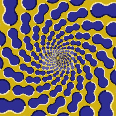 Optische Täuschung Hintergrund. Blaue Formen fliegen auseinander zirkulär aus der Mitte auf gelbem Hintergrund.