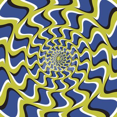 Optische Täuschung Hintergrund. Blaue Haken dreht sich kreisförmig von der Mitte auf grünem Hintergrund.