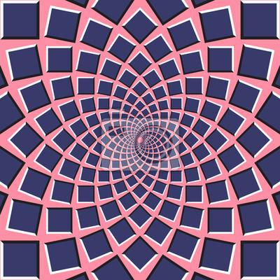 Optische Täuschung Hintergrund. Blaue Quadrate bewegen sich von der Mitte auf rosafarbenem Hintergrund. Zusammenfassung Hintergrund in Form von expandierenden konzentrischen Web.