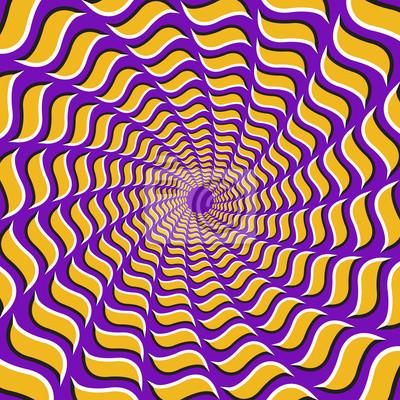 Optische Täuschung Hintergrund. Gelbe Haken fliegen zirkulär aus der Mitte auf lila Hintergrund auseinander.