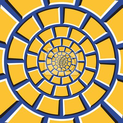 Optische Täuschung Hintergrund. Gelbes Viereck bewegt sich kreisförmig zur Mitte auf blauem Hintergrund. Checkered Hintergrund in Form von konzentrischen Web.