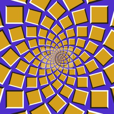 Optische Täuschung Hintergrund. Goldene Quadrate bewegen sich kreisförmig zur Mitte auf blauem Hintergrund. Zusammenfassung Hintergrund in Form von konzentrischen Web.