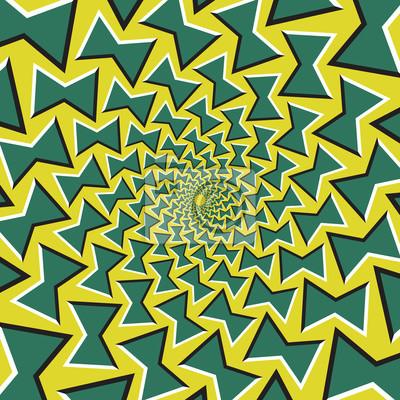 Optische Täuschung Hintergrund. Grüne Schleifen dreht sich kreisförmig von der Mitte auf gelbem Hintergrund.