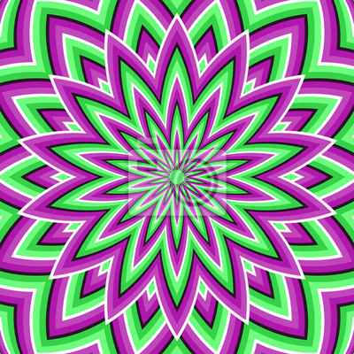 Optische Täuschung Hintergrund. Lila grüne bewegte Blume.