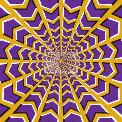 Optische Täuschung Hintergrund. Purpurrote Pfeile fliegen in zwei Richtungen zur Mitte und von auf gelbem Hintergrund.