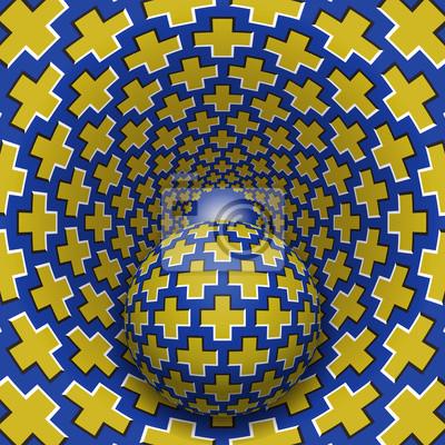 Optische Täuschungabbildung. Ball bewegt sich in gesprenkelten Loch. Gelbe Kreuze auf blauen Musterobjekten. Zusammenfassung Fantasie in einem surrealen Stil.