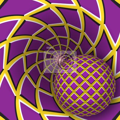 Optische Täuschungabbildung. Eine Kugel bewegt sich auf rotierenden gelben Hintergrund mit violetten Vierecken. Zusammenfassung Hintergrund in einem surrealen Stil.