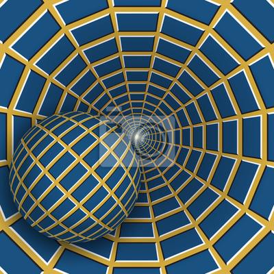 Optische Täuschungabbildung. Eine Kugel bewegt sich auf rotierenden gelben Trichter mit blauen Vierecken. Zusammenfassung Hintergrund in einem surrealen Stil.