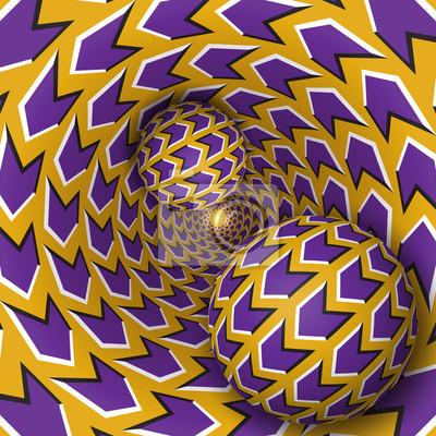 Optische Täuschungabbildung. Zwei Kugeln bewegen sich auf dem rotierenden Trichter. Lila Pfeile auf goldenen Muster-Objekte. Zusammenfassung Fantasie in einem surrealen Stil.