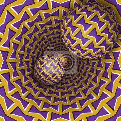 Optische Täuschungabbildung. Zwei Kugeln bewegen sich auf dem rotierenden Trichter. Zusammenfassung Fantasie in einem surrealen Stil.