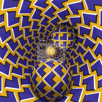 Optische Täuschungabbildung. Zwei Kugeln bewegen sich in gesprenkelten Loch. Blaue Ecken auf gelben Musterobjekten. Zusammenfassung Fantasie in einem surrealen Stil.