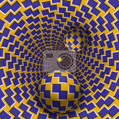 Optische Täuschungabbildung. Zwei Kugeln bewegen sich in gesprenkelten Loch. Blaue Formen auf gelben Musterobjekten. Zusammenfassung Fantasie in einem surrealen Stil.