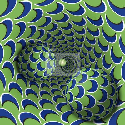 Optische Täuschungabbildung. Zwei Kugeln bewegen sich in gesprenkelten Loch. Blauer Halbmond auf grünen Musterobjekten. Zusammenfassung Fantasie in einem surrealen Stil.
