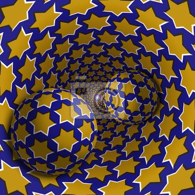 Optische Täuschungabbildung. Zwei Kugeln bewegen sich in gesprenkelten Loch. Gelbe Sterne auf blauem Muster Objekte. Zusammenfassung Fantasie in einem surrealen Stil.