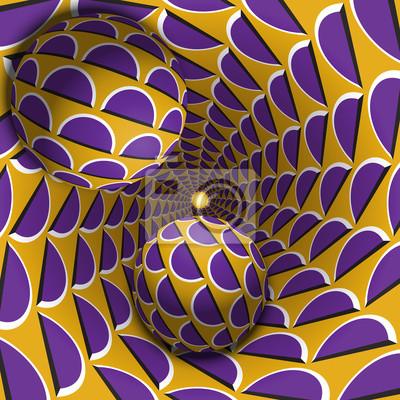 Optische Täuschungabbildung. Zwei Kugeln bewegen sich in gesprenkelten Loch. Lila Halbmond auf gelben Muster Objekte. Zusammenfassung Fantasie in einem surrealen Stil.