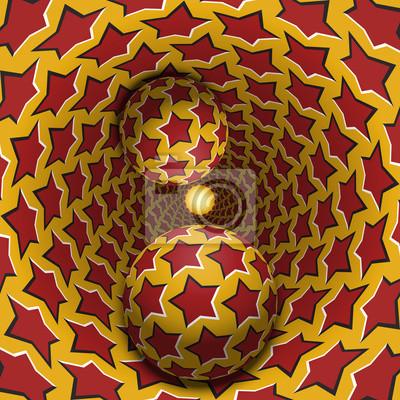Optische Täuschungabbildung. Zwei Kugeln bewegen sich in gesprenkelten Loch. Rote Sterne auf gelben Muster-Objekte. Zusammenfassung Fantasie in einem surrealen Stil.