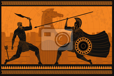 Bild orange and black figures pottery amphora painting of troy war with achilles fighting hector
