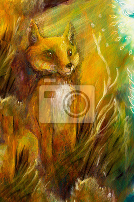 Orange fox sitting in grass in sun rays, colorful painting