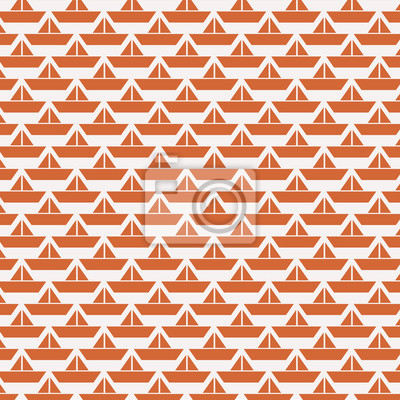 Orange origami paper boats background.
