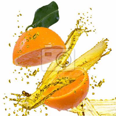 Orange Scheibe spritzt auf weiß
