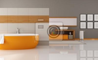 Bild orange und braun Badezimmer