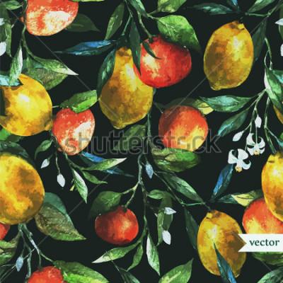 Bild Orange, Zitrone, Aquarell, Hintergrund, dunkel, Muster