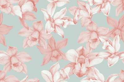 Bild Orchids seamless pattern. Kitchen panel concept