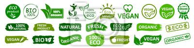 Bild Organic natural bio labels set icon, healthy foods badges, fresh eco vegetarian food – stock vector