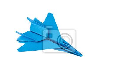 Origami F-15 Eagle Jet Fighter auf weißem Hintergrund