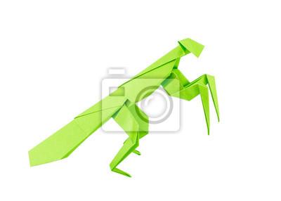 Origami Mantis auf weißen Hintergrund isoliert