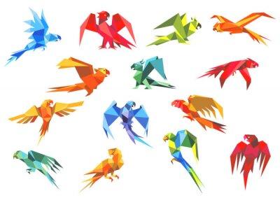 Bild Origami Papier-Modelle von Papageien