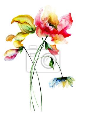 Original Aquarell-Illustration mit Blumen
