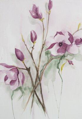 Bild Original-Aquarell, Magnolienblüten.