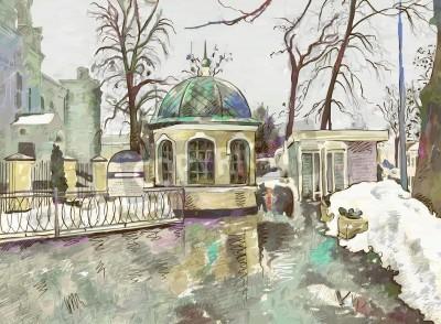 Bild original digital painting of winter cityscape  Modern Impressionism