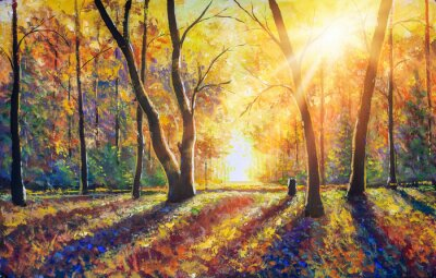 Bild Original hand painted autumn oil painting on canvas. Sunny autumn dark trees in gold autumn forest park wood alley impressionism art