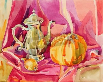 Bild original handmade watercolor painting still life with silver tea pot and pumpkin, art composition, vector illustration